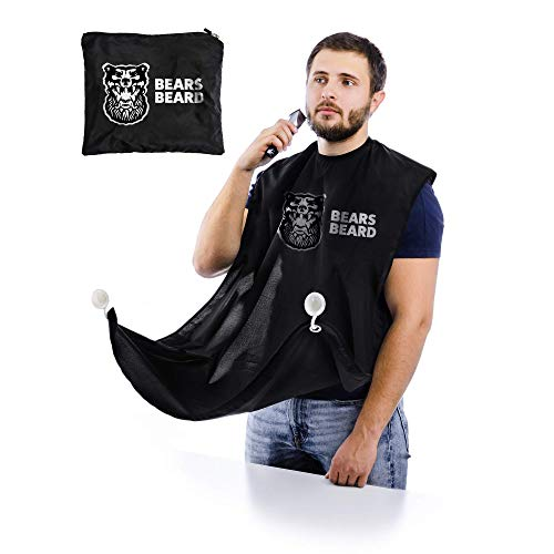 Beard Bib by BEARS BEARD Grooming Cape Apron, Beard Hair Catcher for Shaving and Trimming, Non-Stick and Waterproof Beard Shaving Cloth with Suction Cups - One size - Perfect Gift for Men - Black