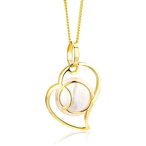 Miore Kette - Halskette Damen Kette Gelbgold 9 Karat / 375 Gold mit Herz Süßwasserperle 45 cm