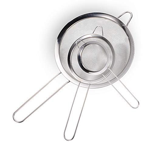 Elehui 3 Pezzi Setaccio a Maglia Fine Colino Colini Acciaio Inox Rete Maglia Fine utili Come Setaccio con Maniglia da Cucina per Farina Pasta Riso Verdura