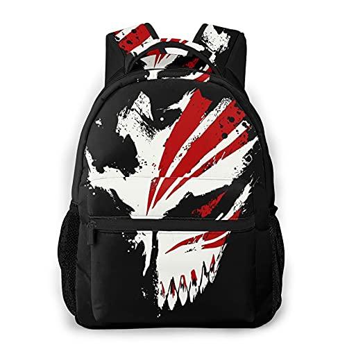 Bleachanime Kurosaki Ichigo Hollow Mask Backpack Bookbags Anime Casual Outdoor Rucksack For With Bottle Side Pockets