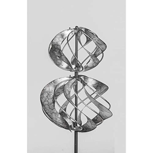 formano Gartenstecker Windrad doppel KREISEL H. 115cm aus Zink Silber Metall F20
