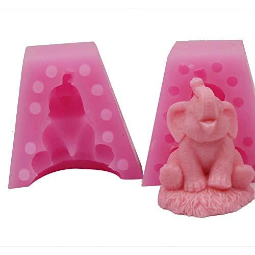 lingzhuo-shop Moule De Savon 3D Elephant, Moule en Silicone, Outils De Cuisson Bricolage Artisanal Rose pour Savons Au Chocolat Cake Fondant, Puddings, Bougies, Gelées, Pots De Fleurs Charnues