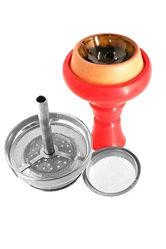 Kaya cachimba de Silicona Shisha con Inserto de Chimenea y colador de Tabaco Juego de Cabeza Shisha (Rojo/Amarillo)