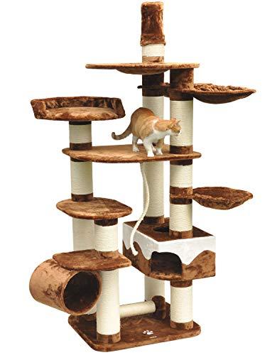 nanook Kratzbaum Katzenkratzbaum XXL Taurus braun - 15 cm Kratzstämmen für große schwere Katzen - sehr stabil - viele Liegemulden - deckenhoch