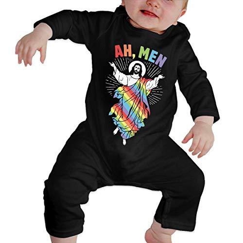 Ah,Hombres recién Nacidos Gilr's Boy's Kids Baby Romper Camisetas de Manga Larga para bebés y niños pequeños(18M,Negro)