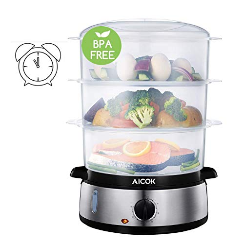 Aicok Food Steamer, 9.5 Quart Vegetable Steamer with BPA-Free 3 Tier Stackable Baskets and Auto Shutoff, 800W Fast Heating Electric Steamer...