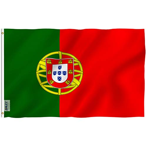 ANLEY Fly Breeze 3x5 Foot (90x150 cm) Portugal Flag - Vivid Color en UV Fade Resistant - Canvas Header en Double Stitched - Portugese nationale vlaggen Polyester met messing oogjes 3 X 5 Ft