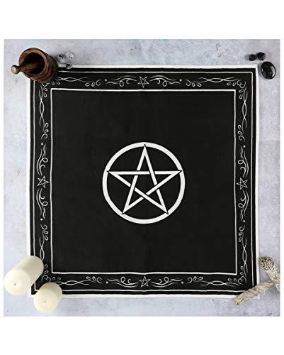 Horror-Shop Schwarz-Weißes Pentagram Altar-Tuch 70 x 70 cm