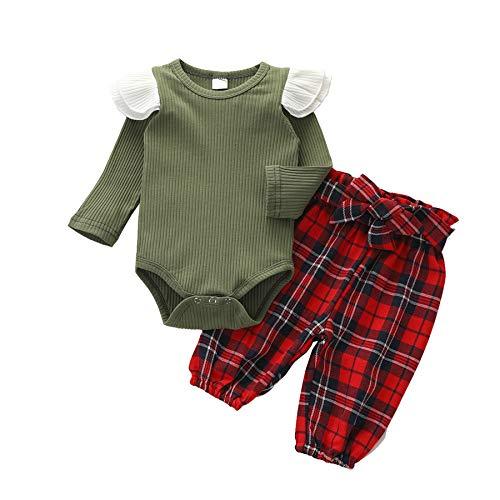 Geagodelia - Conjunto de 2 piezas de ropa de Navidad para bebé de manga larga con volantes + pantalones escoceses rojos, vestido de Navidad vintage, elegante, 0-24 meses