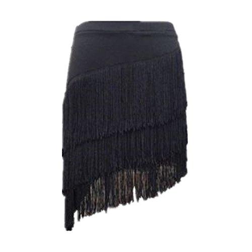 YM YOUMU Damen Franse Lateinischer Rock Quasten Tango Rumba Tanzkleidung Röcke mit Shorts (B-Schwarz, 3XL /Taille: 82 cm/32.3