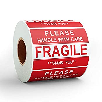 Anylabel 3 x 2 inch Handle with Care Fragile Thank You Warning Packing Shipping Label Stickers Permanent Adhesive  1 Roll 500 Labels