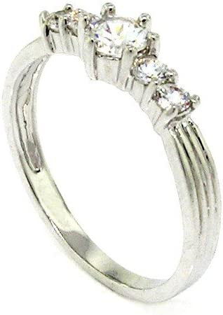 Classic Promise Ring w White Brilliant CZ Round El Limited time sale Paso Mall