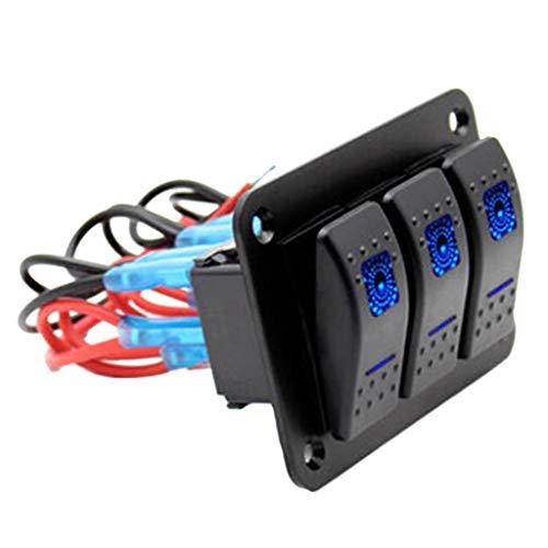 perfk 1x 3 Gang Wippschalter Panel Schaltpanel LED Schalttafel 3 Schalter