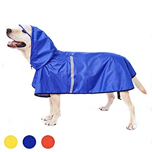 Dog Raincoat with Adjustable Belly Strap and Leash Hole – Hoodie with Reflective Strip – Waterproof Slicker Lightweight Breathable Rain Poncho Jacket for Medium Large Dogs – Easy to Wear