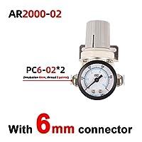 AR2000-2 AR3000-3空気圧調整器の圧力調整器圧力低減バルブ圧力ゲージ 圧力制御バルブ (Color : Black)