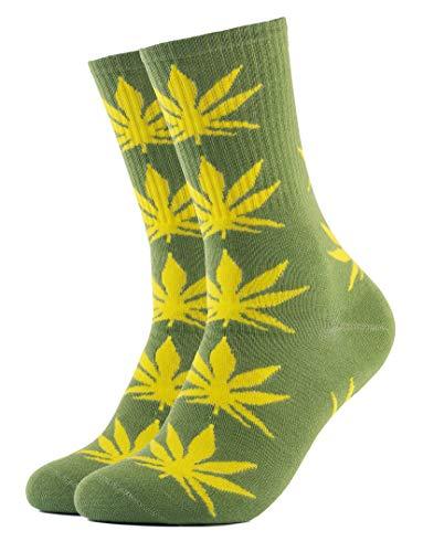 Calcetines de hierba, diseño de Marihuana, color verde con hojas amarillas