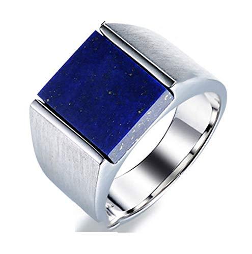 RXSHOUSH Anillo de piedra preciosa para hombre, plata S925, lapislázuli natural, anillo de pareja para hijo, novio, joyería de tendencia de regalo 17-22, tamaño 20#