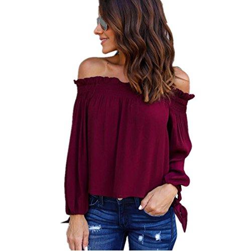Kolylong® Frauen Elegant Trägerlos Bluse Herbst Winter Locker Langarm Shirts Backless Top Hemd (XL, Wein)