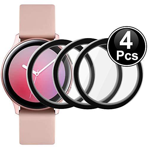 Msm-case [4 Pezzi Pellicola salvaschermo Compatibile con Samsung Galaxy Watch Active 2 (44mm), AntiGraffio, Tocco sensibile, Senza Bolle, Applicazione Facile, Pellicola glassata, Copertura Completa