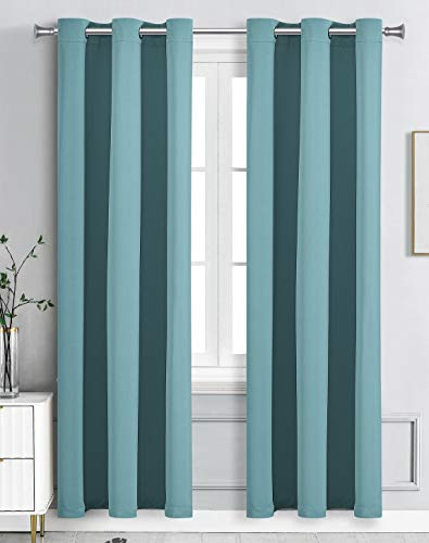 """WPM Blackout Curtain Room Darkening 2 Panels/Drapes for Living Room, Teal Thermal Insulated Grommet Bedroom Window Draperies (Teal, 42"""" W X 84"""" L)"""