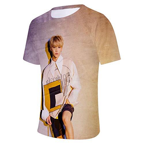 KPOP Stray Kids T-Shirt 3D Bedrucktes Sommer Unisex Kurzärmliges Hemd Baumwolle Lose Tops Rundhals Kurzarm T-Shirts Bang Chan Changbin Hyunjin Felix Seungmin Jeongin Jisung Minho Woojin