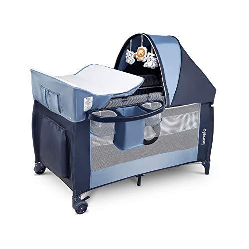 Lionelo Sven Plus 2 in 1 box bambini lettino bambino fasciatoio giocattoli pendenti baldacchino con zanzariera ingresso laterale aggiuntivo rotelle mobili sistema LockGuard (blu marin)