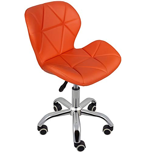 Charles Jacobs Dining/Office Swivel Chair with Chrome Legs with Wheels and Lift - Orange PU
