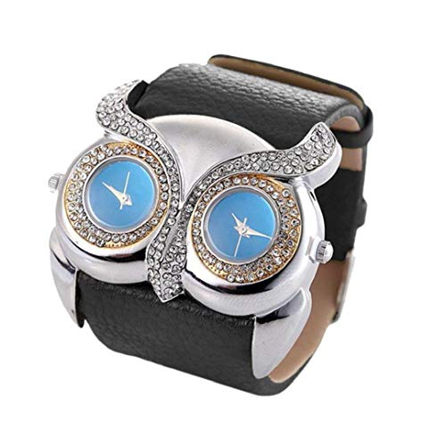 Frauen-Mode-Uhr Doppelvorwahlknopf-Platte Eulen-Art-Uhr-Quarz Analog Mit Lederarmband Strass Armbanduhr Eingebaute Batterie Schwarz