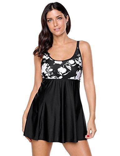 Blossil Women's Black Plus Size Swimwear Skirted Swimsuit Printed One Piece Swimdress XXXL(US 24-26)