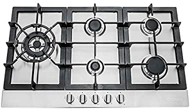 Cosmo 850SLTX-E Gas Cooktop with 5 Burners, Counter Cooker with Cast Iron Grate Stove-Top, Melt-Proof Metal Knobs, 30 inches, Stainless Steel