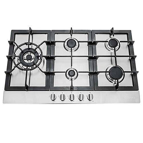 "Cosmo 850SLTX-E 30"" Gas Cooktop with 5 Burners, Counter-Top Cooker Cooktop with Cast Iron Grate Stove-Top, Melt-Proof Metal Knobs (Stainless Steel)"