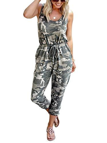 KIRUNDO 2020 Women's Casual Round Neck Sleeveless Jumpsuit Drawstring Waist Stretchy Long Pant Romper Pajama with Pockets (Camouflage, XX-Large)