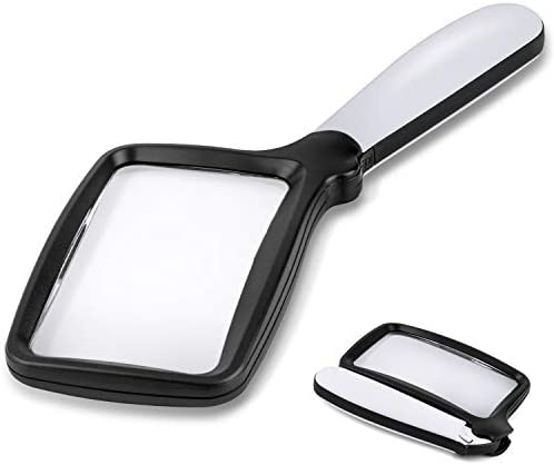 Folding Handheld Magnifying Glass with Light 3X Large Rectangle Reading Magnifier with Dimmable product image