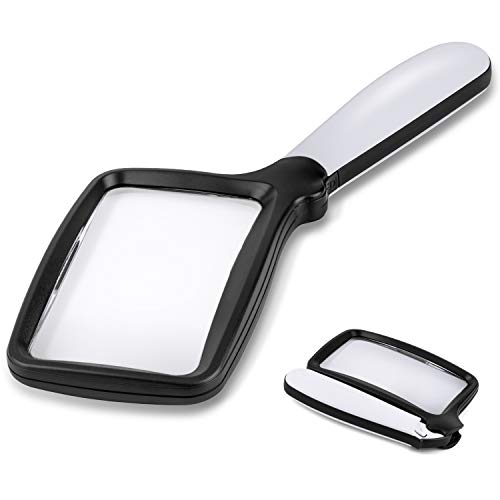 Folding Handheld Magnifying Glass with Light, 3X Large Rectangle Reading Magnifier with Dimmable LED for Seniors with Macular Degeneration, Newspaper, Books, Small Print, Lighted Gift for Low Visions