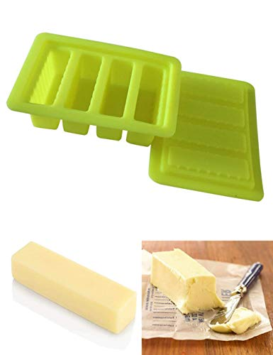 ALEIFLE Butter Silicone Tray Mold, Container for Pudding Soap Chocolate Ice Cube Soap Bar, Energy Bar, Muffin, Brownie, Cornbread, Cake with Lid Storage(YELLOW)