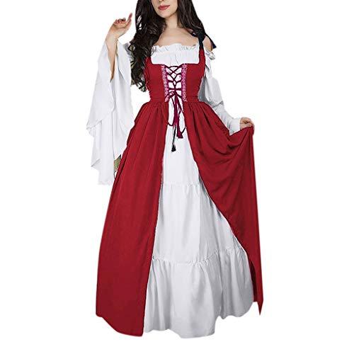 Vrouwen Middeleeuwse Jurk Retro Bandage Corset Vintage Party Club Elegante Jurk Dames Lange Mouw Kouder Schouder Koninklijke Hof Prinses Halloween Kostuums