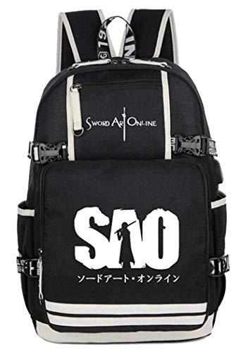 WANHONGYUE Lumineux Sword Art Online Anime Sac à Dos Cartable Laptop Backpack avec USB Charging Port pour Étudiant /1