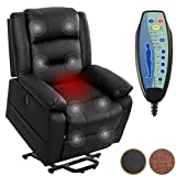 Electric Massage Leather Recliner Chair, Power Lift Heated Vibration Massage Living Room Lounge Sofa Chair with Massage Remote Control, USB Charge Port, Side Pockets, Great for Home Theater (Black)