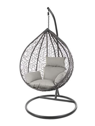 Kideo Komplettset: großer Hängesessel mit Gestell & Kissen, Indoor & Outdoor, Poly-Rattan (Korb & Gestell: grau, Kissen: grau Nest (8010_Cloud))