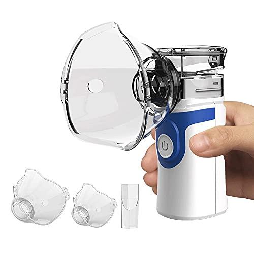 Nebulizador Portatil Inhalador,Nebulizador Niños y Adultos con Boquilla y Máscara,Nebulizador de Malla Silencioso de Tamaño Bolsillo,Baterías o Cable USB