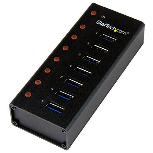 STARTECH.COM Hub USB Superspeed 3.0 a 7 Porte, Perno e con centratore USB 3.0 Ultra Veloce a 5 Gbps con Alimentazione Esterna, Nero
