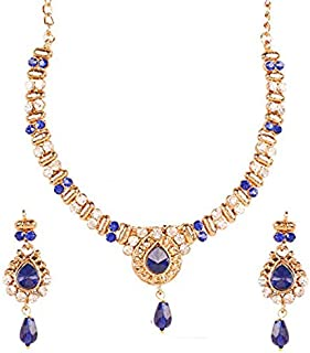 Touchstone Indian Bollywood Rhinestones Designer Bridal Jewelry Necklace Set For Women.