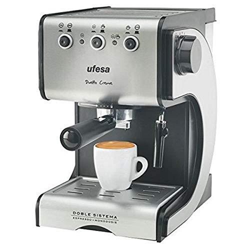 Eurroweb espressomachine roestvrij staal zwart zilver – professionele drukmachine 15 bar