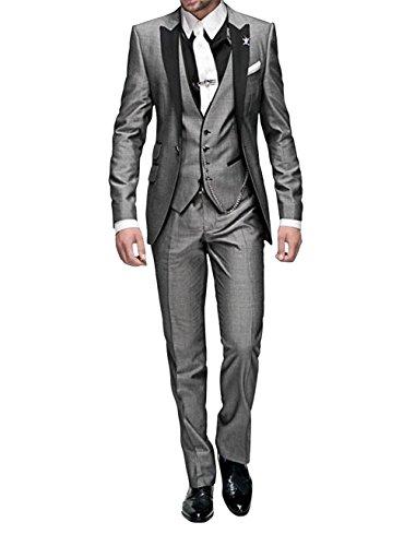 GEORGE BRIDE Herren Anzug 5-Teilig Anzug Sakko,Weste,Anzug Hose,Krawatte,Tasche Platz 002,Dunkelgrau grau L