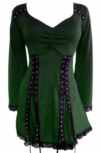 Dare to Wear Electra Corset Top: Gothic Punk Rock Steampunk Women's Plus Size Tunic Shirt for Everyday Halloween Cosplay Concerts, Envy 1x