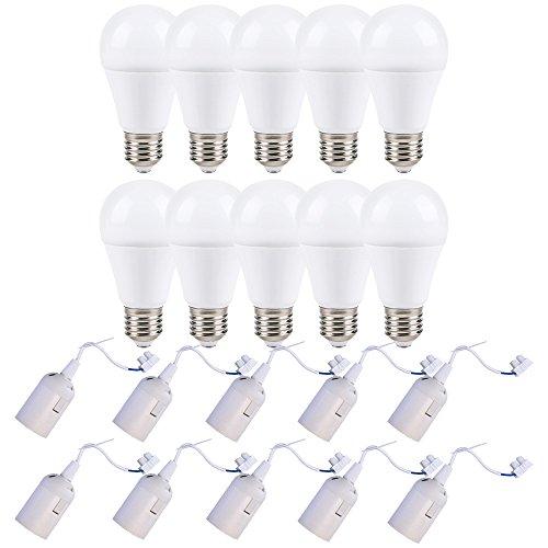 10 x LED Leuchtmittel 12W = 75W E27 matt 1055lm warmweiß + 10 x Baufassung Renovierfassung Lampenfassung (weiß)