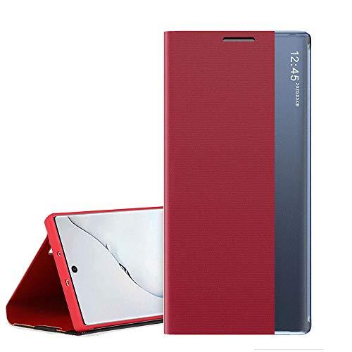 QC-EMART Coque Folio pour Samsung Galaxy A70 Rouge, Étui Rabat Smart View Miroir Case Fenêtre d'affichage Fonction Sommeil/Réveil Automatique Flip Housse Protection pour Samsung A70