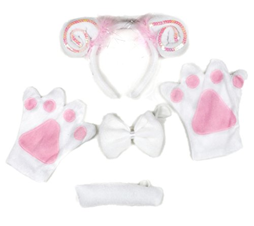 Petitebelle Pink Sheep Headband Bowtie Tail White Gloves 4pc Lady Costume (One Size)