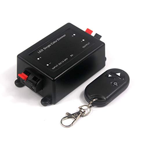 Taikuwu LED radiografische dimmer/schakelaar 12V DC gelijkspanning met RF afstandsbediening voor éénkleurige LED Strip voor alle dimbare LED lampen met stekker en stekker - 12V 8A Max