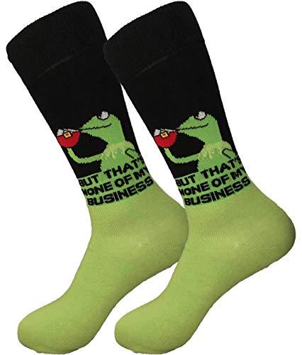 Balanced Co. Kermit Meme Dress Socks Funny Socks Crazy Socks Casual Cotton Crew Socks (Black/Green)